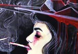 Cigarette in two strokes painting by Alexandra Hudecova