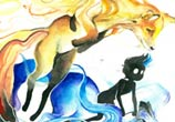 Gemini watercolor painting by Art Jongkie