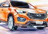 Hyundai Santa Fe watercolor by Art Jongkie