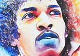 Jimi Hendrix watercolor painting by Art Jongkie