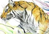 Siberian Tiger watercolor by Art Jongkie
