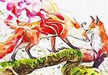 Tales of Fox watercolor painting by Art Jongkie