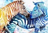 Zebras watercolor by Art Jongkie