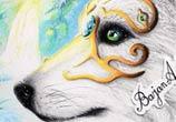 White wolf drawing by Bajan Art