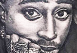 2 Pac portrait tattoo by Benjamin Laukis