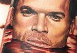 Portrait tattoo of Dexter Morgan by Benjamin Laukis