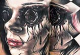 Face tattoo by Benjamin Laukis