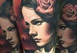 Girl portrait tattoo by Benjamin Laukis