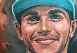 Lewis Hamilton tattoo portrait by Benjamin Laukis