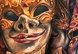 Mask tattoo by Benjamin Laukis