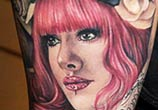 Tattoo portrait of Moni Marino by Benjamin Laukis