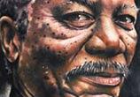 Portrait tattoo of Morgan Freeman by Benjamin Laukis