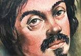 Self portrait tattoo of Caravaggio by Benjamin Laukis