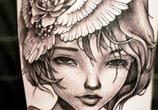 Woman portrait tattoo by Benjamin Laukis