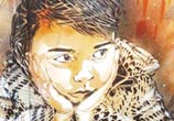 Abstract sitting child by artist C215