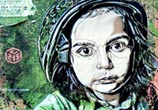 Abstract portrait of child by C215 in Italy