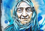 Old woman streetart portrait by C215