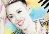 Miley Cyrus portrait color drawing by Fau Navy