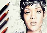 Rihanna 3 color drawing by Fau Navy