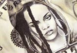 Rihanna Dollar pencil drawing by Fau Navy