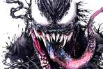 Venom pencil drawing by Helene Kupp