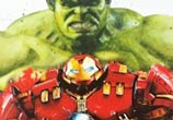 Hulk and Hulkbuster color drawing by Jonathan Knight Art