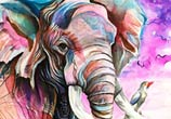 African Elephant color drawing by Katy Lipscomb Art