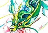 Chinese dragon color drawing by Katy Lipscomb Art