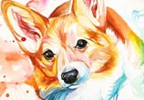 Corgi color drawing by Katy Lipscomb Art