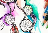 Dreamcatcher color drawing by Katy Lipscomb Art
