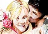 Love couple color drawing by Katy Lipscomb Art