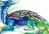 Peacock dragon color drawing by Katy Lipscomb Art