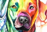 Rainbow Dog color drawing by Katy Lipscomb Art