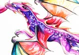 Rainbow dragon color drawing by Katy Lipscomb Art