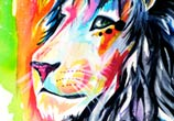 Rainbow lion color drawing by Katy Lipscomb Art