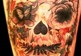 Flowers Skull tattoo by Led Coult