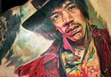 Jimi Hendrix portrait tattoo by Led Coult