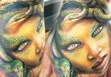 Medusa snake head tattoo by Led Coult