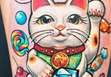 Sweet cat tattoo by Led Coult