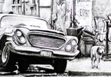 Car repair town drawing by Lukas Lukero Art