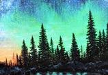 Polar aurora lake mixedmedia by Lukas Lukero Art