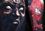 Batman and Spiderman tattoo by Nikko Hurtado