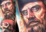Blackbeard portrait tattoo by Nikko Hurtado