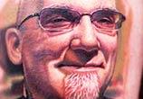 Portrait tattoo of Bob Tyrrell by Niko Hurtado