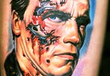Tattoo portrait of Terminator by Nikko Hurtado