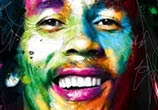 Portrait of Bob Marley, mixed media by Patrice Murciano