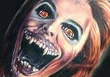 Horror leg tattoo by Paul Acker