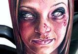 Horror woman portrait tattoo by Paul Acker
