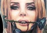 Lana Del Rey portrait tattoo by Paul Acker