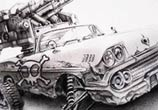 War car sketch drawing Pez Art